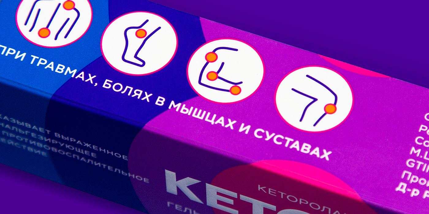 Цветовое решение упаковки «Кеторол геля»