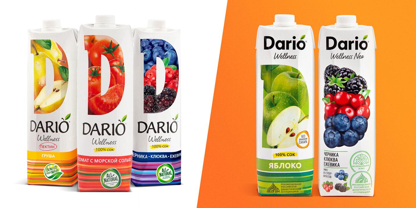 Старый и новый логтип бренда Dario
